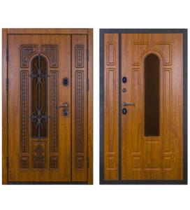 Дверь двустворчатая с терморазрывом и стеклом